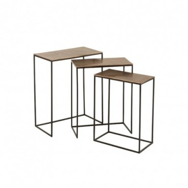 Set De 3 Table Gigogne Rectangulaire Aluminium Rouille