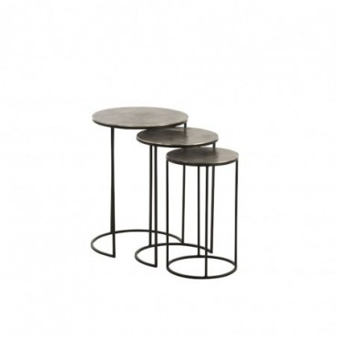 Set De 3 Table Gigogne Ronde Aluminium Noir/Gris
