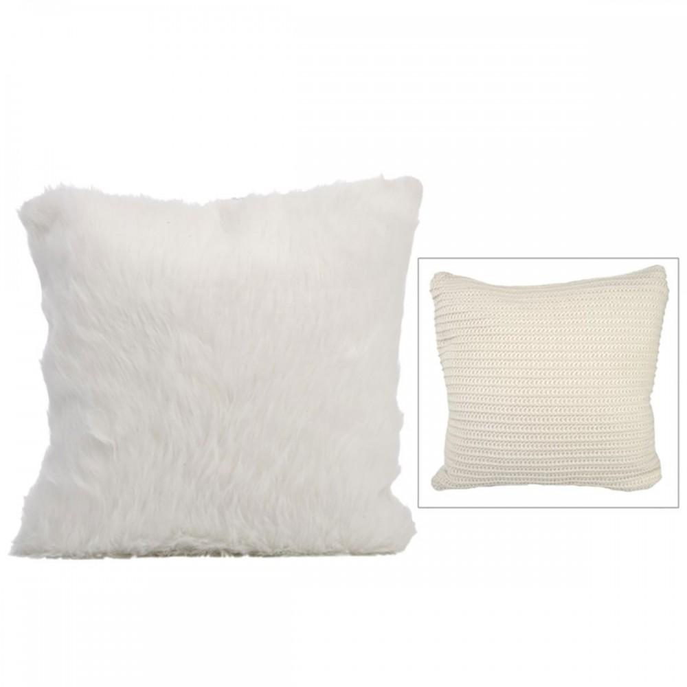 Coussin Tricote Imit Four beige Cr