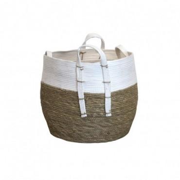 Panier Inoa lot de 2 Red Cartel Rotin naturel et blanc 38cm - 32cm
