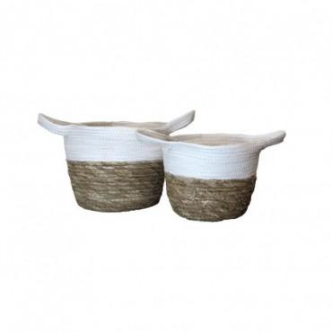 Panier Inoa lot de 2 Red Cartel Rotin naturel et blanc 23cm - 18cm