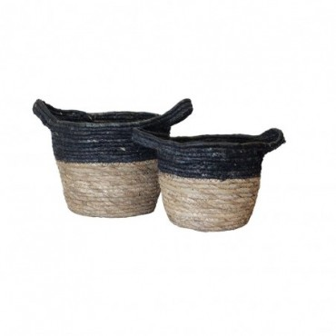 Panier Inoa lot de 2 Red Cartel Rotin naturel et noir 23cm - 18cm