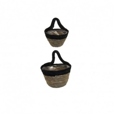 Panier Inoa lot de 2 Red Cartel Rotin naturel et noir 18cm - 14cm