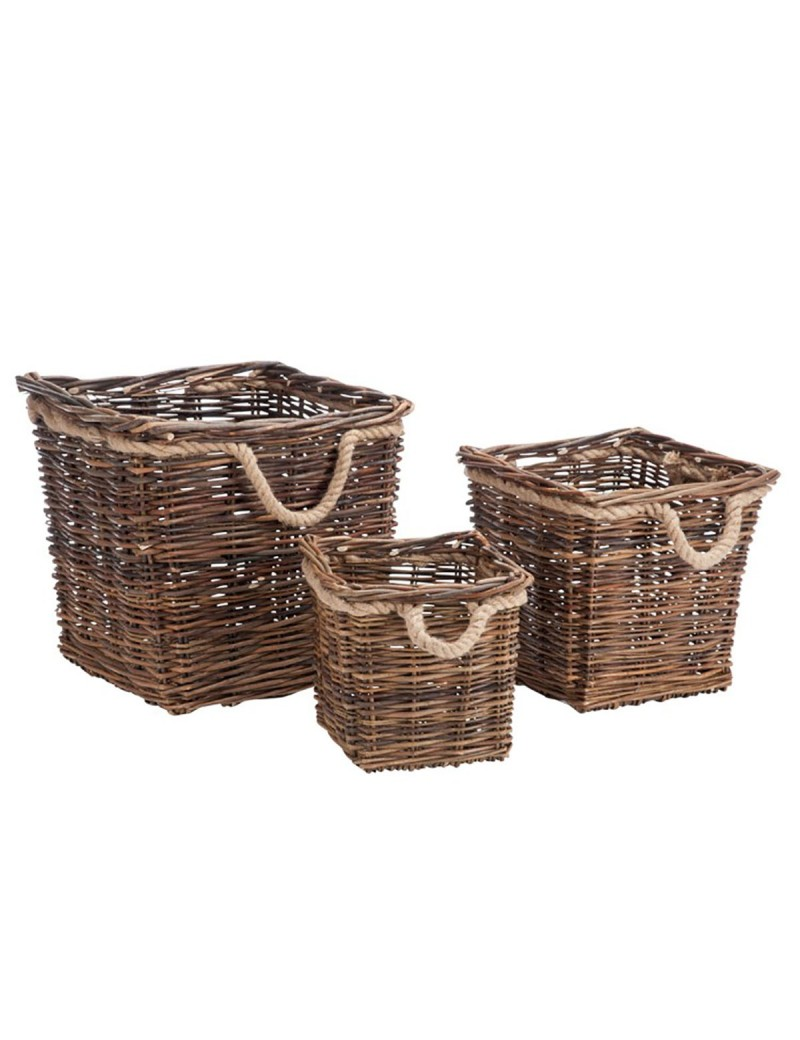 Set De 3 Paniers Carre Saule Naturel