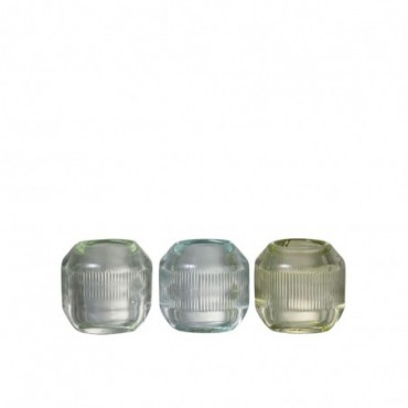 Photophore Stries Bande Verre Transparent/Mix (Assortiment de 3)