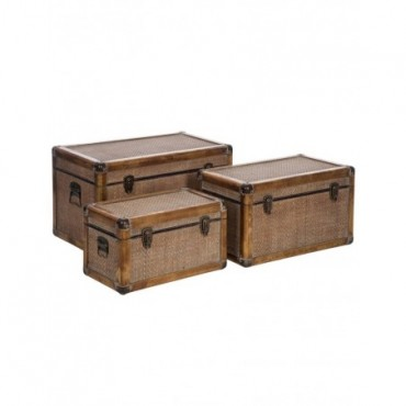 Set 3 Malles Rectangulaires bois Rotin Naturel