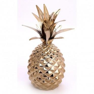Ananas d'ornement en céramique doré 22cm