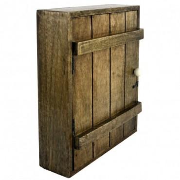 Armoire à clés murale en bois massif avec 6 crochets