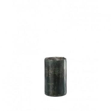 Vase Cylidre Etroit Verre Vert Gris Large