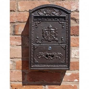Boîte aux lettres murale en fonte et en bois