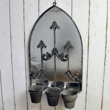 Miroir mural effet rouillé avec cache-pot triple