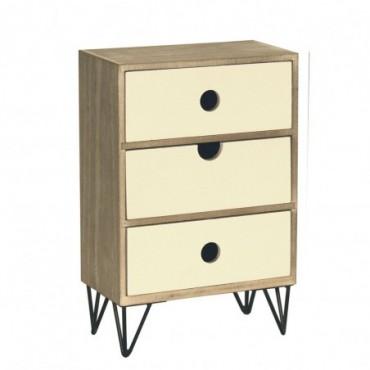 Petite armoire rustique à 3 tiroirs avec pieds métalliques