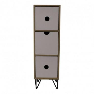 Petite armoire rustique verticale à 3 tiroirs avec pieds métalliques