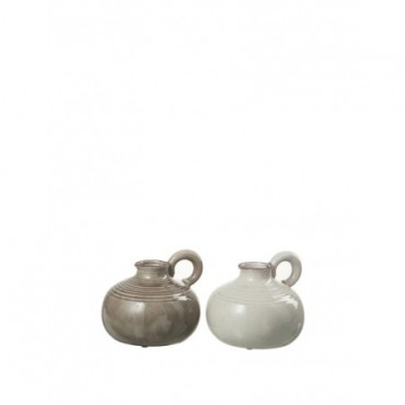 Pichet Ceramique Taupe Greige Assortiment De 2