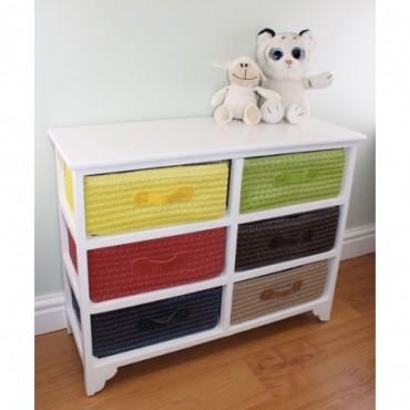 Commode de rangement 6 tiroirs paniers multicolores