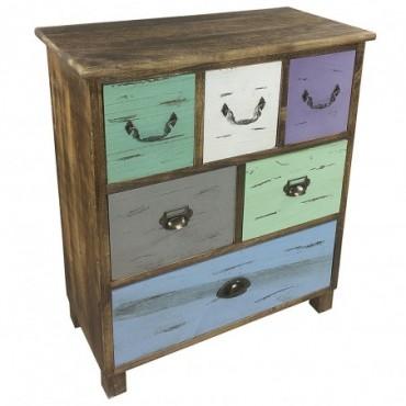 Commode en bois avec 6 tiroirs colorés 69 cm