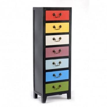 Commode haute 7 tiroirs couleurs arc en ciel 38 x 26 x 110 cm