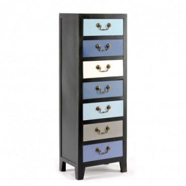 Commode haute avec 7 tiroirs bleus 38 x 26 x 110 cm