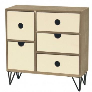 Petite armoire rustique à 5 tiroirs avec pieds métalliques