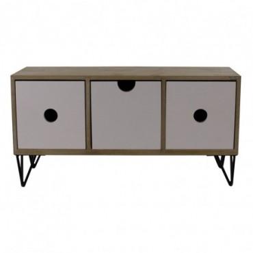 Petite armoire rustique horitontale à 3 tiroirs avec pieds métalliques