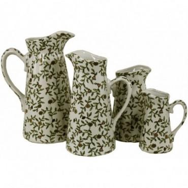 Lot de 4 cruches en céramique motifs floraux vintage vert et blanc
