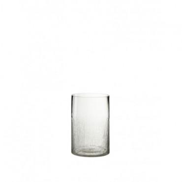 Vase Cylindre Semi Craquele Verre Transparent