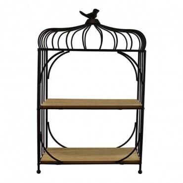 Étagère sur pieds métal et bois design cage à oiseaux