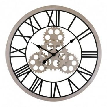 Grande horloge à engrenages style industriel effet bois 70cm