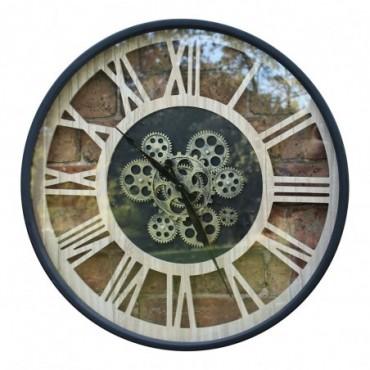 Horloge à engrenage style industriel chiffres romains 57 cm