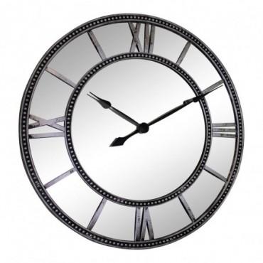 Horloge Murale Miroir Argent 55cm