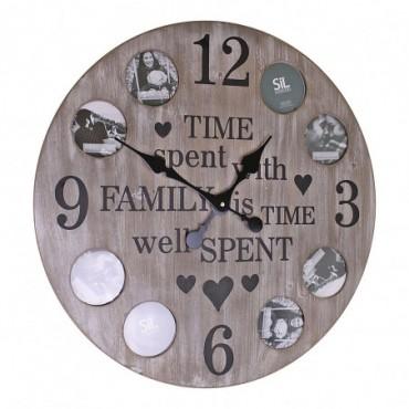 Horloge Photos de famille bois 60cm