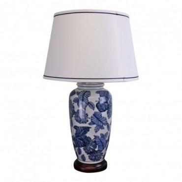 Lampe Céramique Bleue et Blanche avec Base en Bois 70cm