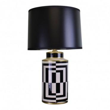 Lampe en céramique design géométrique noir blanc et or  66cm