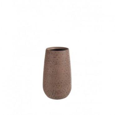 Vase Rond Relief Terre Cuite Marron moyen