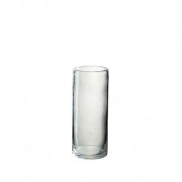 Vase Cylindrique Etroit Bulle Verre Transparent petit