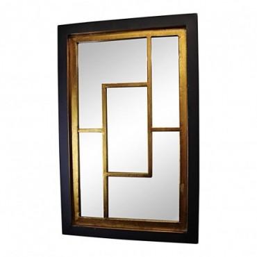 Miroir mural géométrique noir et or