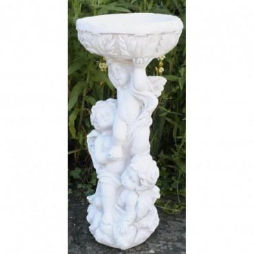 Bain d'oiseaux sculpté en résine 3 chérubins effet pierre 63cm