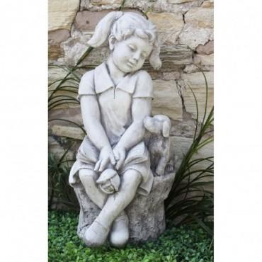 Sculpture fille avec chien résine effet pierre 66cm