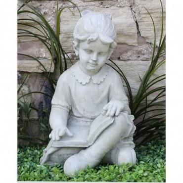 Sculpture Fille avec livre résine effet pierre 48cm