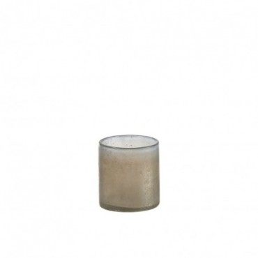 Photophore Smokey Cylindrique Verre Beige Small
