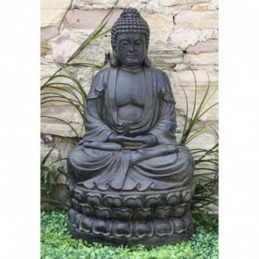Statue de Bouddha assis en méditation en résine effet pierre