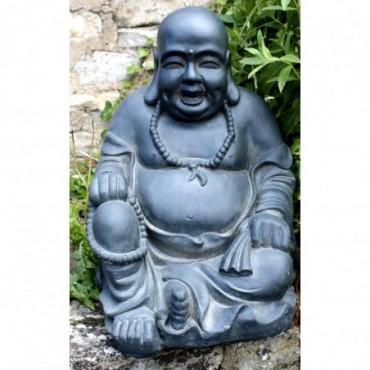 Statue de Bouddha riant en résine effet pierre