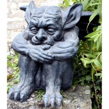 Statue de gargouille en résine effet pierre 38cm