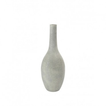 Vase Bouteille Relief Carre Terracotta Gris Clair Xl