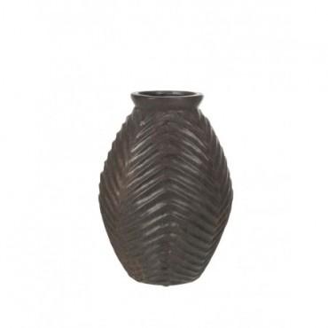 Vase Haut Lignes Terre Cuite Marron Fonce