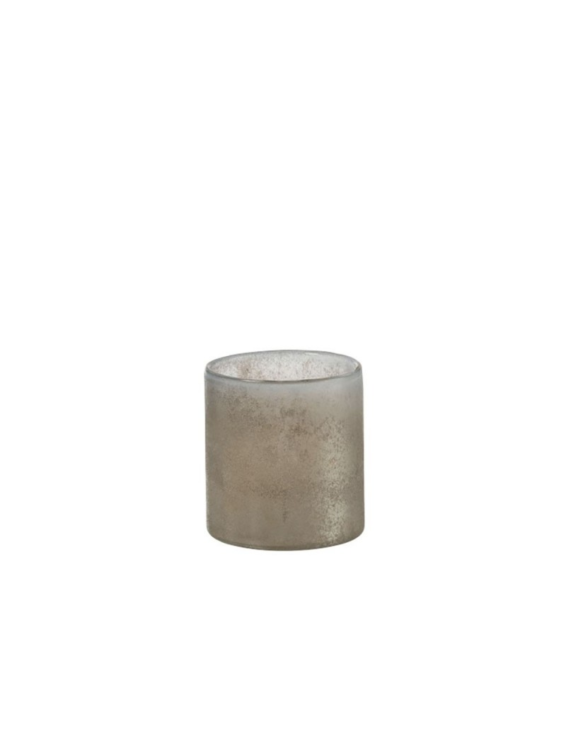 Photophore Smokey Cylindrique Verre Beige Medium