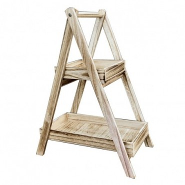 Support à 2 plateaux  en bois effet usé