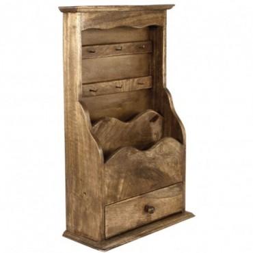 Meuble de rangement en bois pour courrier et clé avec tiroir