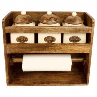Porte rouleau en bois + 3 pots en céramique Tea Coffee Sugar