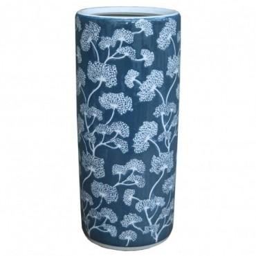 Pot à parapluie en céramique avec relief bleu floral